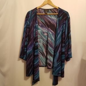 MAGGIE BARNES MULTI COLOR OPEN FRONT WATERFALL TOP